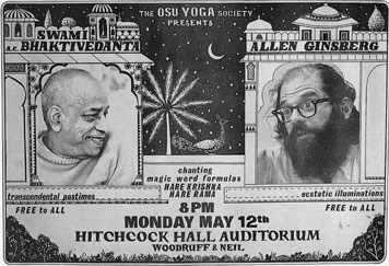 poster announcing Srila Prabhupada's and Allen Ginsberg's Appearance