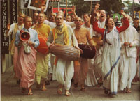 chanting Hare Krishna in the streets of Sweden