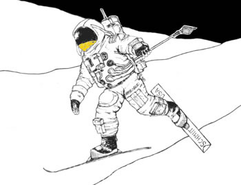 skiing on the moon