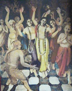 Lord Chaitanya with His associates